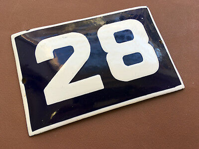 ANTIQUE VINTAGE EUROPEAN ENAMEL SIGN HOUSE NUMBER 28 DOOR GATE SIGN 1960's