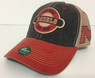 new concept 6248a 80a5b Ole Miss Rebels Hat Trucker Style Mesh Back Adjustable Snap Cap By Legacy -  NWT