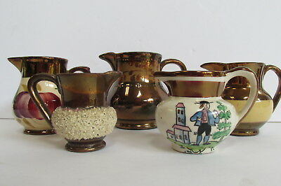 """5 Antique Miniature Copper Luster Pitchers 2"""" to 3"""""""