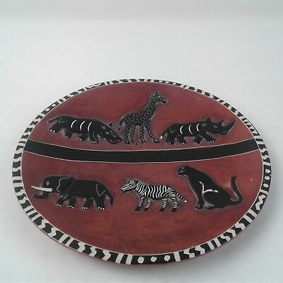 """10"""" Red Plate Handmade in Kenya African Animals and Black Border"""