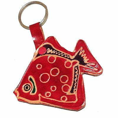 Hand Tooled Leather Shantiniketan India Fish Red Keyring Key Ring Keychain