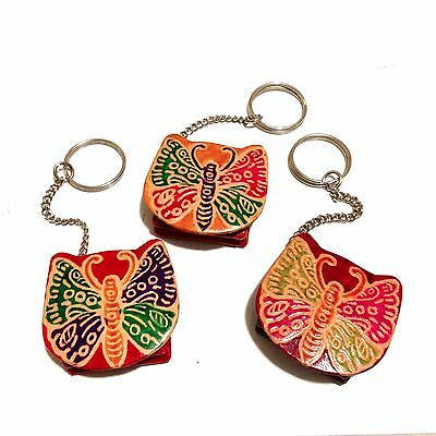 Hand Tooled Leather Shantiniketan India Butterfly Keyring Key Ring Keychain