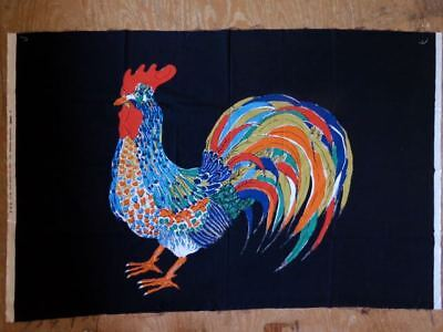 Mid Century Vtg 70s retro fabric INTAIR wall art Textile Scandinavian Rooster