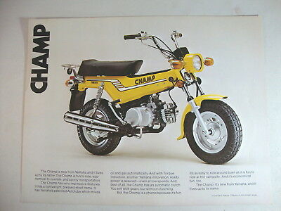 1976 Genuine Yamaha CHAMP LB80 LB80IIC Trail Bike Sales Brochure OEM