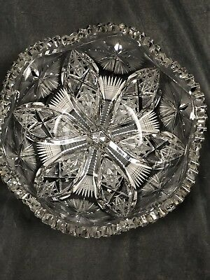 "Antique Pitkin & Brooks American Brilliant Cut Glass Crystal Bowl 8"" P&B Mark"