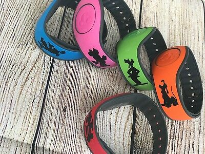 Set of 5 Disney Magic Band Decals stickers Mickey Minnie Goofy Donald Pluto