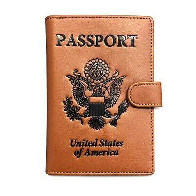 RFID Blocking Passport Holder Travel Wallet. Brown US Passport Cover