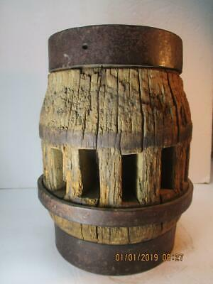Antique Authentic Primitive Wood Wagon Wheel Hub With Metal Bands 14 Spokes