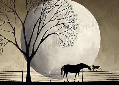Horse cat moon silhouette gift folk art Criswell ACEO Giclee print of painting