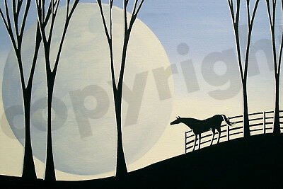 Horse silhouette blue farm moon art Criswell ACEO Giclee print of painting gift