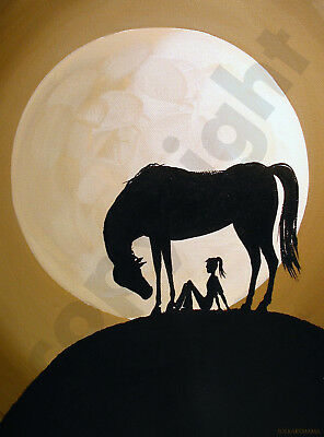Horse girl funny animal moon art Criswell ACEO Giclee print of painting gift