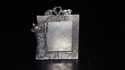 Vintage 1990 Metzke Pewter Miniature Picture Frame Cat Playing EC