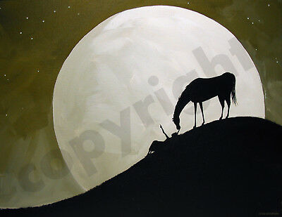 Horse stars girl love heart moon art Criswell ACEO Giclee print of painting gift