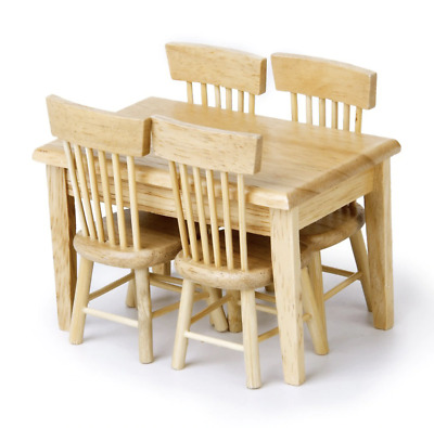 5pc Wooden Kids Table & Chairs Play Set Toddler / Child Dollhouse Furniture Toy