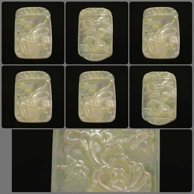 100% Natural Drilled Mother of Pearl Flower Carving KBD5-12