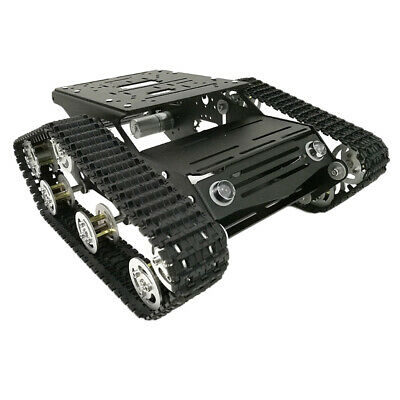 Smart Robot Tank Car Chassis Rubber Track Crawler with Code Wheel