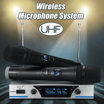 UHF Wireless Microphone System Audio Dual Handheld LCD 2 Channel Party KTV Home