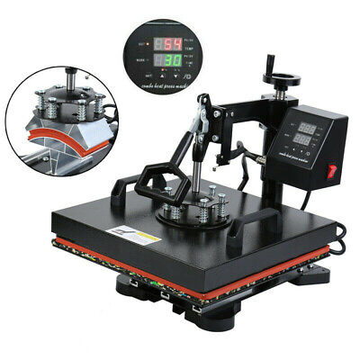 "15""X12"" 5 in 1 Heat Press Machine Transfer Sublimation T-Shirt Mug Hat Cap Plate"