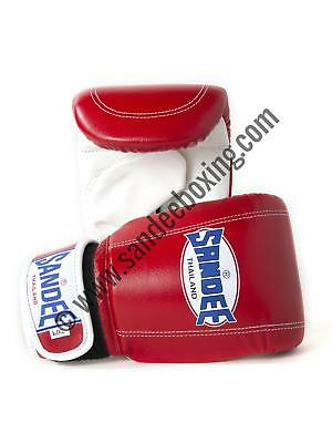 Sandee Velcro Red & White Leather Bag Gloves/Mitts MMA Muay Thai Boxing