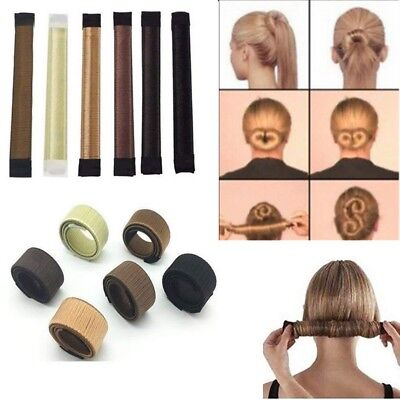 Womens Magic Hair Bun Snap Styling Donut Former French Twist Band Maker Easy DIY