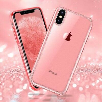For iPhone XS Max Xr 8 Plus Case Glossy Bling Glitter Sparkle Bumper Clear Cover