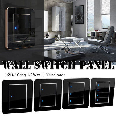1/2/3/4 Gang 1/2 Way Modern Wall Light Switch Panel Push Buttons LED Indicator