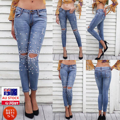 Women High Waisted Stretch Ripped Denim Trousers Jeans Jeggings Pencil Pants