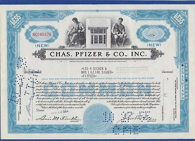 012 USA 1954 Aktie - Chas. Pfizer & Co., Inc. 15 Shares