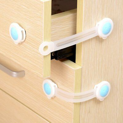 1/10X Adhesive Child Kids Baby Cute Safety Lock Door Drawers Cupboard Cabinet QU