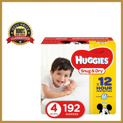 HUGGIES Snug & Dry Baby Diapers, Size 4 (fits 22-37 lbs.)192 Count,Economy Plus