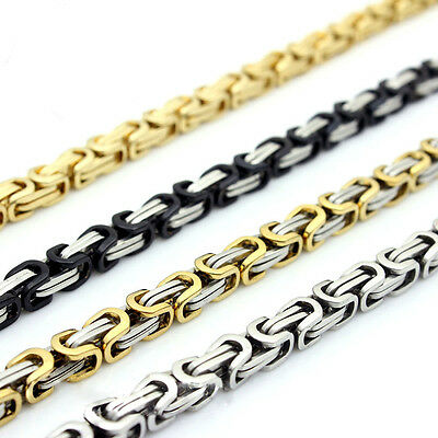 """18-40""""MEN Stainless Steel 6/8mm Silver/Gold/Black Byzantine Box Chain Necklaces"""