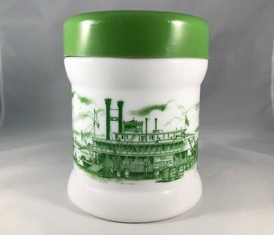 Vintage Milk Glass Humidor - White w Green Lid and Riverboat Scene - Delta Queen