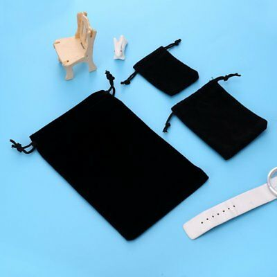 5PCS Small Black Gift Bag Velvet Cloth Jewelry Pouch Drawstring Wedding Favors