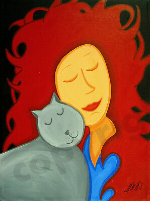 Girl cat red gray hair head art Criswell ACEO Giclee print of painting gift