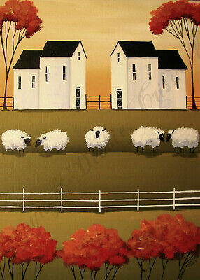 Folk art Farm sheep country landscape day Criswell ACEO Giclee print of painting