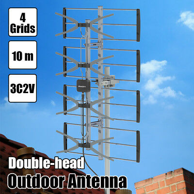 Portable 470-860MHz 4 Grids 10 m 3C2V Double-head Black Wire Outdoor Antenna USA