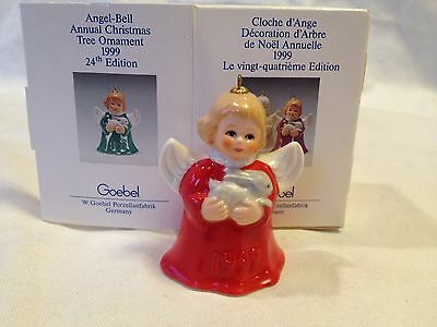 1999 Goebel Angel Bell Christmas Ornament - Red - With Bunny - 24Th Ed.