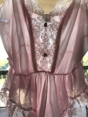 Vintage 70s Nylon Babydoll Pink Sheer Silky Satin Lace Chic Lingerie Sz L USA