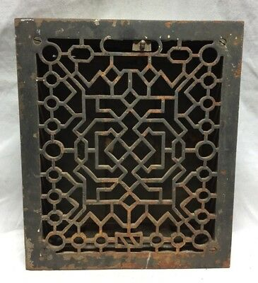 One Antique Cast Iron Decorative Heat Grate Floor Register10X12 Vintage 3-19C