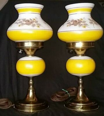 Antique hand painted pair of two lamps