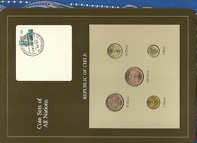 Coin Sets of All Nations Chile UNC 5,100 Peso 1986 1,10,50 Pesos 1987