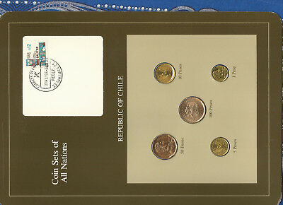 Coin Sets of All Nations Chile UNC 100 Peso 1985 1,5,10 Pesos 1986 50 Pesos 1982
