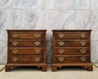 PAIR Vintage Statton Trutype Americana Chippendale 4 Drawer Bachelor Chests