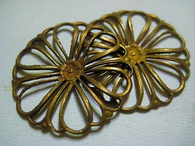 2 French Dapt Brass Filigree Flower Medallion Stamping Vintage Jewelry Component