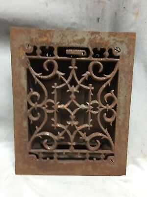 One Antique Cast Iron Decorative Heat Grate Floor Register 6X8 Vintage 5-19C