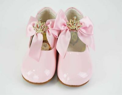 Spanish ❤️COUCHE TOT Girls Pink Patent Bow Shoes (LIZZY)