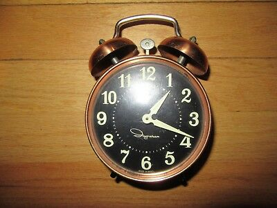 ad353c91d 9H/vintage Ingraham Wind Up Double Bell Alarm Clock/copper?/glow In