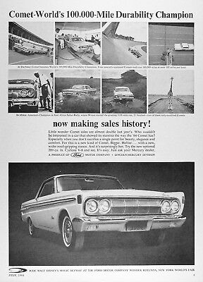 1964 MERCURY COMET COUPE Original Vintage Advertisement ~ 100K @ Daytona