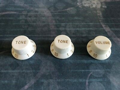 White Guitar Knobs Volume Tone Strat For Fender Stratocaster - ships from Canada