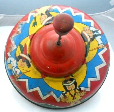 Rare Antique Ohio Art Tin Lithograph Spinning Top Indians Children Spins Great